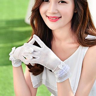 GLO-STORY 手套女短款蕾丝骑行防晒冰丝手套触屏WST724653白色