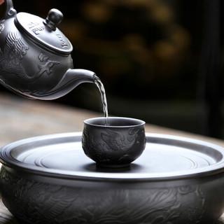 言艺 紫砂茶具套装 带茶盘 黑色仿古双龙