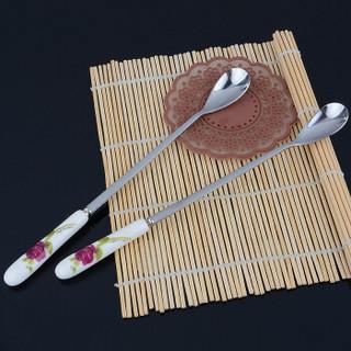 吉睿 筷勺/刀叉 靓厨系列 加厚不锈钢陶瓷柄多功能冰匙勺 CZ5033玫瑰