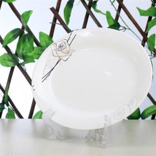 SKYTOP斯凯绨 陶瓷盘子骨瓷鱼盘餐盘 12英寸永恒玫瑰 椭圆形