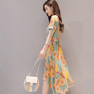 仙丫 2017女装夏新款韩版气质短袖修身裙子中长款印花雪纺连衣裙女潮zx1752603 图片色 XXL