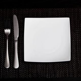 乐享 景德镇方形纯白骨瓷牛排盘子沙拉盘西餐盘刀叉4件套