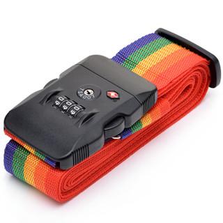 四万公里 一字打包带 托运捆绑带 带TSA密码锁 多用途拉杆箱行李箱旅行箱多彩弹力打包带 SW3107 彩虹色