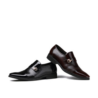 LAORENTOU 老人头 商务正装鞋特色压花皮英伦尖头皮鞋 14T1804 棕色 41码