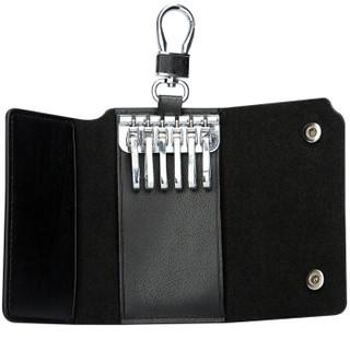 博牌 钥匙包 男士牛皮腰挂钥匙扣 多功能车锁匙包牛皮16-00702黑色