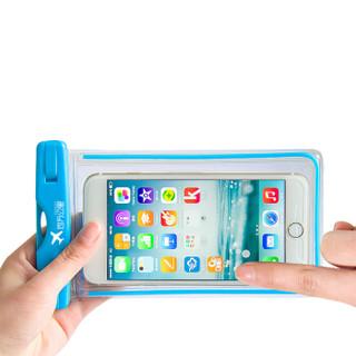 四万公里 手机防水袋 潜水套 温泉垂钓游泳水下拍照触屏大号透明防水包 适用苹果华为 5.5寸 SW4002 天蓝色
