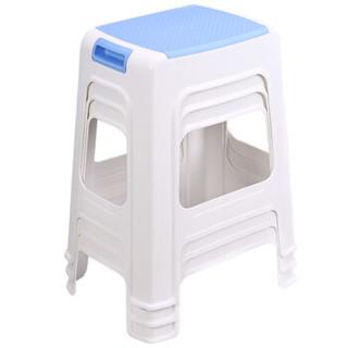 好尔(Hore)凳子椅子 塑料凳子 餐椅 带提手大号蓝色 1个装