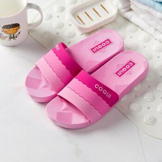酷趣coqui 浴室拖鞋情侣拖鞋渐变色家居凉拖鞋玫红色39码LJ85492