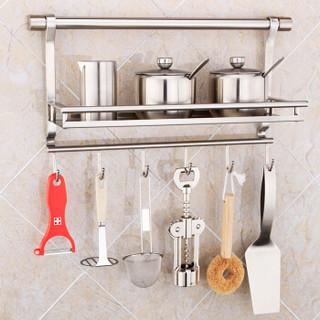 莱尔诗丹(Larsd)CF702六钩调味架不锈钢厨房置物架壁挂收纳架调料盒厨房收纳架厨房挂件