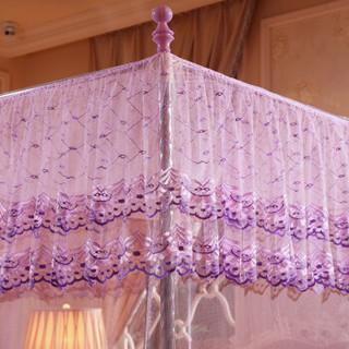 雅鹿·自由自在 蚊帐家纺 加粗支架三开门方顶落地式 豪华宫廷蚊帐 1.8米床 紫色-023