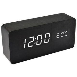 TIMESS闹钟 静音个性三组闹铃儿童学生电子床头钟创意声控LED时钟表卧室夜光温度多用木头钟5020黑