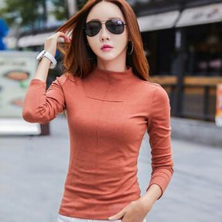 尚格帛2018年冬季新品女装打底衫半高领加绒加厚紧身t恤上衣 zx1308-301GB 黑色 S