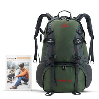 SWISSGEAR双肩包防雨 防水耐磨休闲运动包户外登山包男配防雨罩50L JP-3050军绿色