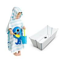 FlapjackKids 宝宝双面速干连帽防晒浴巾+SKIP HOP 鲸鱼造型浴盆
