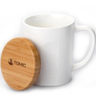 特美刻(TOMIC)马克杯 带盖咖啡杯子情侣陶瓷杯懒人大容量牛奶杯水杯茶杯 TCL1317 白色 520ML