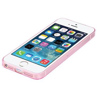 毕亚兹(BIAZE) 苹果5S/SE/5手机壳 iPhone5S/SE/5保护套 全包防摔透明软壳 清爽系列 JK01-粉色