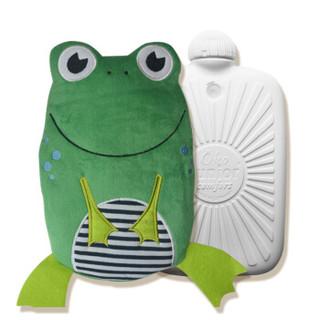 HUGO FROSCH暖蛙热水袋德国原装进口立体卡通外套婴儿童注水灌水暖手宝防烫环保暖水袋青蛙呱呱(0.8L)0091