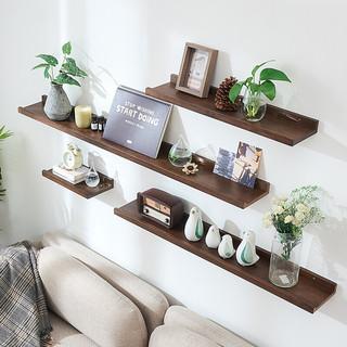 墙上置物架实木隔板墙壁置物架一字搁板书架机顶盒架电视墙装饰架免打孔