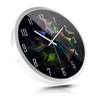 摩门(Momen)挂钟 客厅创意卧室静音现代蓝色海洋之心挂表14英寸 HD0052 金属白