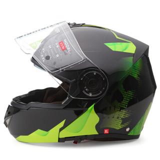 坦克(Tanked Racing)摩托车头盔赛车头盔揭面盔双镜片 T270四季通用 M码 黑色 骷髅