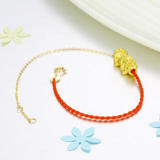 红色年轮 黄金转运珠手链女 3D硬金貔貅 足金路路通转运珠半红绳细手链 小貔貅
