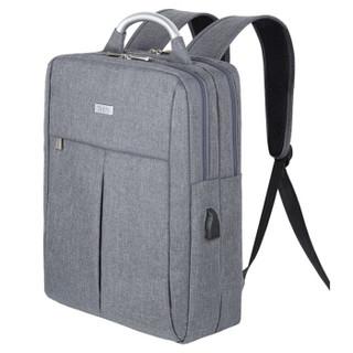 泰若(Taero)双肩包 通用防水面料商务休闲铝提手充电背包笔记本电脑包大学生书包 15.6英寸 8802 灰色