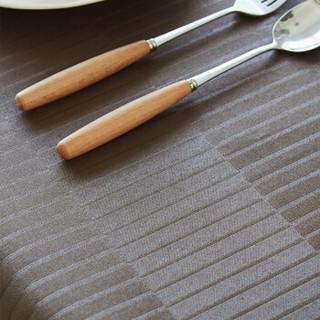 锦色华年巧刻利防水防油餐桌布防烫免洗 田园布艺条格圆餐桌茶几布垫可定制 深咖色 100*160cm
