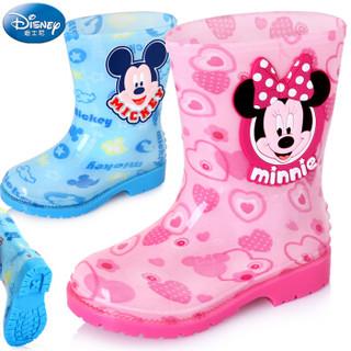 迪士尼 Disney 儿童雨鞋 男女童卡通防滑雨靴小孩胶鞋水鞋 15487 米奇蓝31码