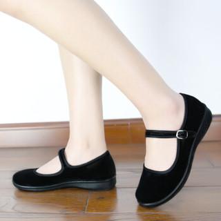 BUSHEYUAN 布舍元 女平底防滑黑色一字扣带单老北京布鞋 2W10 36码