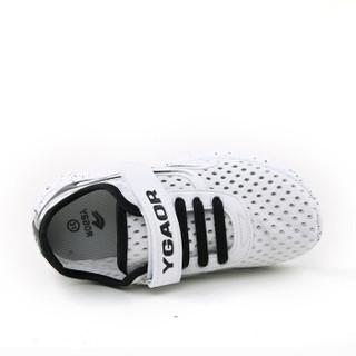 永高人(YGAOR)网面鞋2017秋季男女小童休闲透气网面运动鞋网鞋 EX6309X黑白28