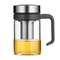 万象  玻璃杯 U216 350ML手柄式多功能茶杯 不锈钢杯盖 手柄内置一体化耐用泡茶杯 黑色 *3件