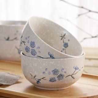 樱之歌纯手绘雪花釉日式素瓷5英寸横纹面碗(4只)