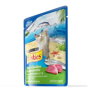 泰国进口 喜跃 成猫真鱼包 猫零食猫湿粮80g 吞拿鱼及沙丁鱼味
