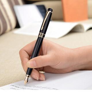 英雄(HERO)黑色雅悦 0.5mm 明尖铱金钢笔签字笔时尚办公学生墨水礼盒套装  1501