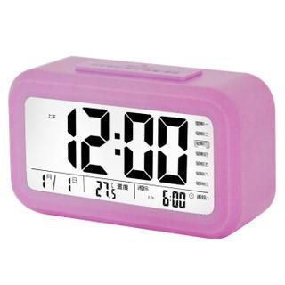 康巴丝(Compas)闹钟智能电子静音夜光聪明灯自动感光三组闹铃小闹钟儿童学生钟WD877粉色