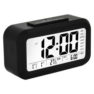 康巴丝(Compas)闹钟智能电子静音夜光聪明灯自动感光三组闹铃小闹钟儿童学生钟WD877 黑色