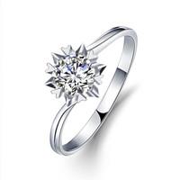 一搏千金(YBQJ)BG005 18K金8分雪花双倍显钻 结婚钻石戒指  10#