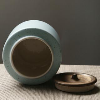 苏氏陶瓷(SUSHI CERAMICS)茶叶罐经典亚光铁锈茶具配件(蓝)