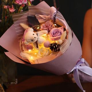 初朵保鲜花速递3朵紫色小熊香皂玫瑰花彩灯礼盒520情人节鲜花礼物生日礼物送女生送女友