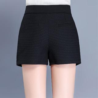 欧偲麦 短裤女秋季高腰阔腿A字裤外穿韩版显瘦打底靴裤子XYN76270 黑色 2尺5