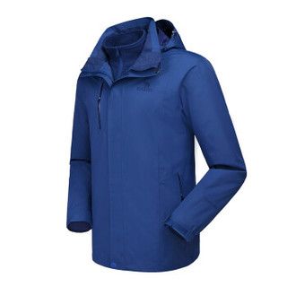 CAMEL 骆驼 冲锋衣男女防污防水三合一两件套冲锋衣男 A7W217127 普蓝 L