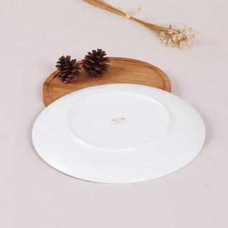 SKYTOP斯凯绨 陶瓷盘子骨瓷餐具西餐盘大号牛排盘纯白10英寸月光形