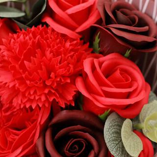 初朵保鲜花速递11朵红色香皂玫瑰花康乃馨礼盒520情人节鲜花生日母亲节礼物送女生送女友送妈妈