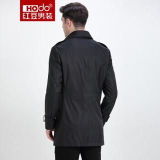 红豆 Hodo 男装 外套男时尚平驳领纯色修身商务男风衣 S5黑色 180/96A