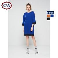 C&A蕾丝边宽松针织半袖连衣裙女 春季气质及膝直筒裙CA200213839