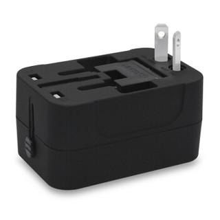 驰动 全球通用转换插头万能转换插座双usb充电器 欧美英德标日本香港泰国旅行电源转换器黑色