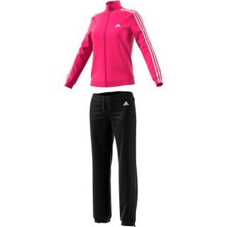 adidas 阿迪达斯 TRACKSUIT系列   运动套装女款 小脚休闲裤 春秋跑步外套 羽毛球服  CY3518  S码  粉/黑