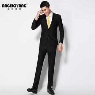安其罗扬(ANGELOYANG)西服套装男 韩版商务休闲职业装修身男士西装套装 1402 黑色 S/165A