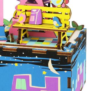 若态 DIY手工拼插玩具 儿童立体木质拼图 手工拼装八音盒创意节日礼物 幸福摩天轮402