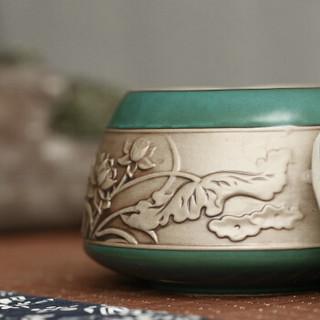 言艺茶叶罐陶瓷便携普洱茶罐大号茶叶盒储茶罐 沐樱茶叶罐绿(可放约200g铁观音)